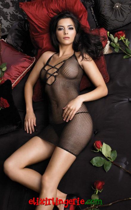 Мрежест мини фустан со накрсни врвки