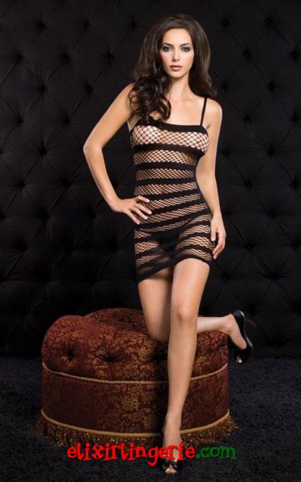 Мини фустан со широки линии