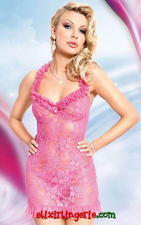 Мини фустан со набори од чипка