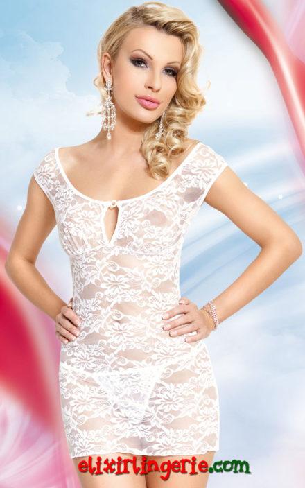 Мини фустан со цветна чипка
