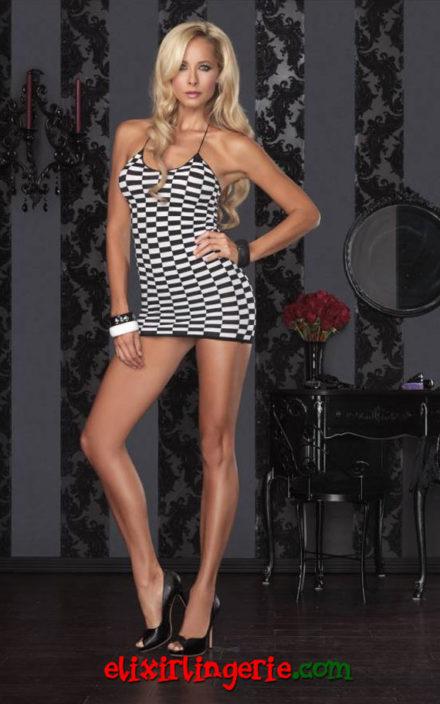 Мини фустан шаховско поле
