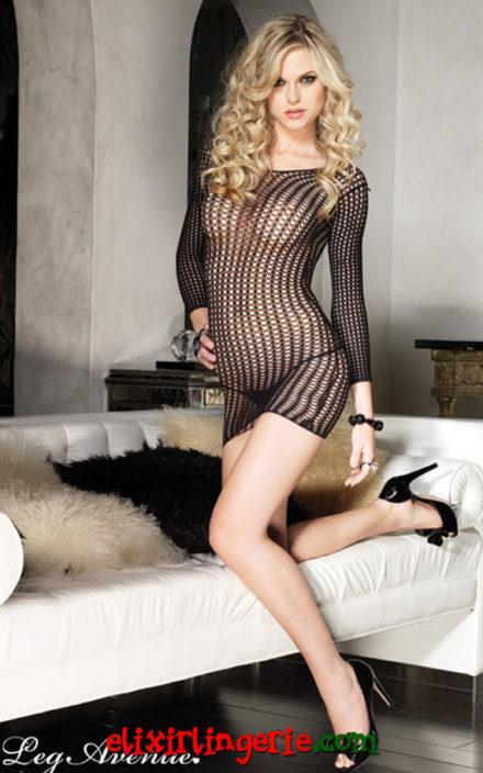 Мрежест мини фустан со долги ракави