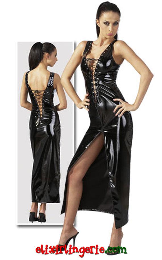 Фустан со врзување со голем шлиц