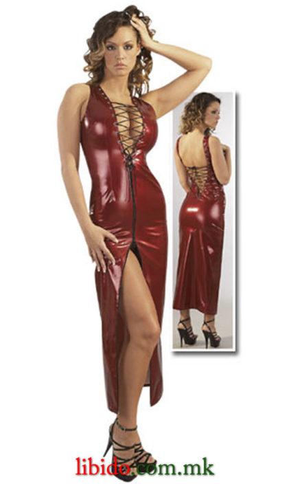 Лакиран фустан со врзување