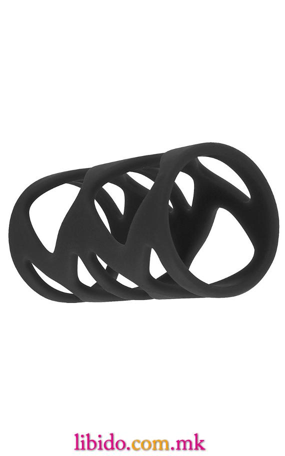 Сет прстени за пенис со црно немирно зајаче